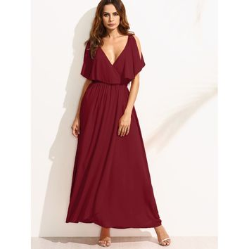 Surplice Front Split Cape Dress