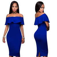 Blue Off-Shoulder Midi Bodycon Dress
