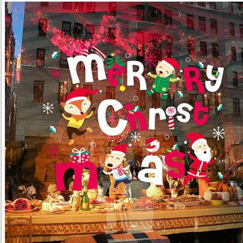Animals Fox Santa Claus Merry Christmas Window Stickers Wall Decals Xmas Party Decoration Snowflakes Window Decoring Reindeer