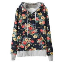 MapleClan Fashion Floral Flowers Casual Cotton Hooded Hoodie for Women