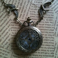 steampunk Pocket Watch necklace CROSS by Victorianstudio on Etsy