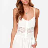 Sugared Trim Ivory Lace Romper