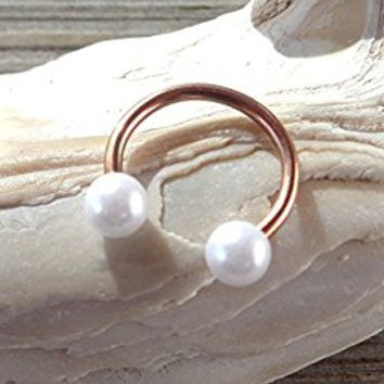 Rose Gold Horseshoe Circular Barbell Pearl Septum,Helix,Cartilage,Scaffold,Upper Ear,Lobe,Nose Ring.
