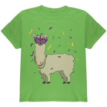 PEAP Mardi Gras Llama Beads Mask Youth T Shirt