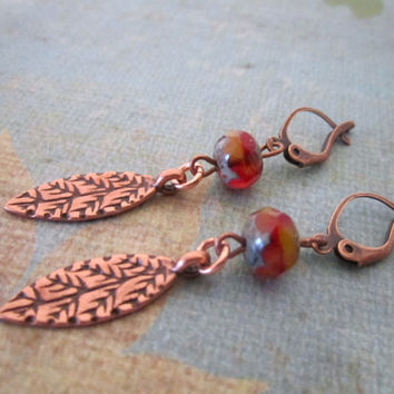 Copper Leaf Earrings by 636designs on Etsy