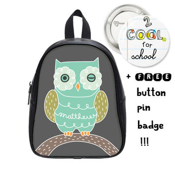 Custom Kid backpack + FREE pin badge - Owl schoolbag - Personalized school children accessory - customized for kids with animal design