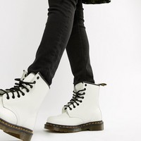 Dr Martens 1460 White Leather Flat Ankle Boots at asos.com