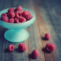 "Still life fruit photography - fresh raspberries food photograph - red berries aqua blue - farmhouse rustic kitchen ""Raspberries"""