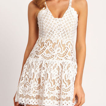 White Spaghetti Strap Hollow Lace Dress