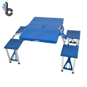 Outdoor Folding Picnic Table with 4 Seats Portable 5 Piece Table and Benches Set With Carrying Case