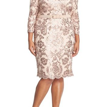 Plus Size Women's Tadashi Shoji Three Quarter Sleeve V-Neck Sequin Cocktail Dress,