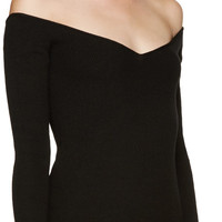 Black V-Neck Off-the-Shoulder Sweater