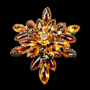 Art Glass Navette and Rhinestone Brooch Brown Topaz and Amber Angled Layered DogTooth Prong Set