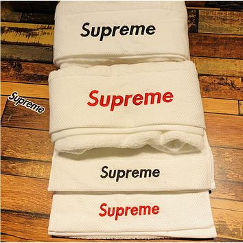 Supreme Popular Women Men Simple Letter Embroidery Cotton Soft Water Absorption White Couple Towel Bath Towel I13484-1