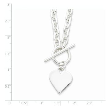 Sterling Silver 18 Inch Engraveable Heart Toggle Necklace