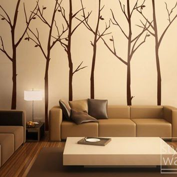 Tree Wall Decal Wall Stickers- Forest Winter Trees 100 inches - Set of 6 Vinyl Wall Decal Home Decor Room Decor Baby Wall Decal