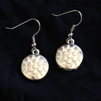 White Golf Ball Enamel Charm Earrings - golf earrings - Womens Jewelry - Golf Lover