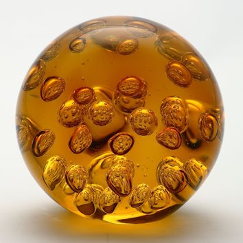 4.5 inch Clear Amber Ball Paperweight