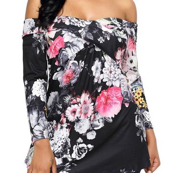 Mode Black Off Shoulder Crisscross Floral Top