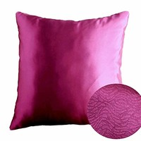 "Magenta Haze Dark Fuchsia 16"" x 16"" Decorative Solid Satin Square Throw Pillow Cases Cushion Covers Textured for Couch Sofa Bed"