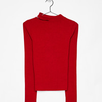 Knit sweater with slit on the neckline - Knitwear - Bershka United States