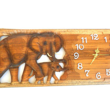 "Wood Carving Elephant Clock Natural Teak Wood Hand Carved Art Wall Hanging Home Decor / Gift 23.5""x10"""