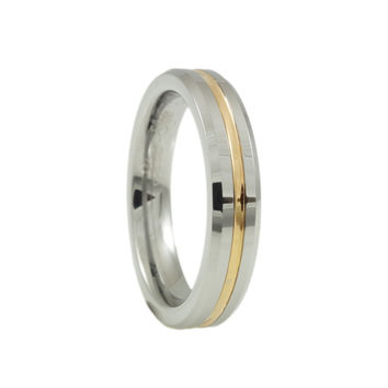 Tungsten  Middle Rose Gold Plated Grooved Band Woman