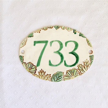 House Numbers - Ceramic Address Sign  - New Home Address - Home Address - Leaf Address Plaque - Home Address - Number Sign - Home Sign