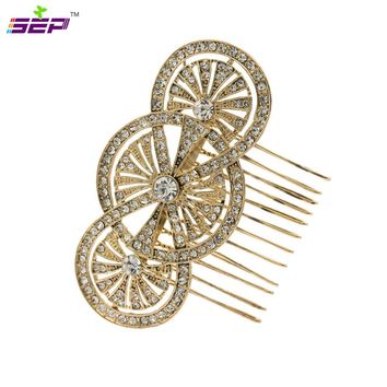 Vintage Style Rhinestone Crystals Hair Comb Women Hairpins Bridal Wedding Hair Jewelry Accessories XBY067