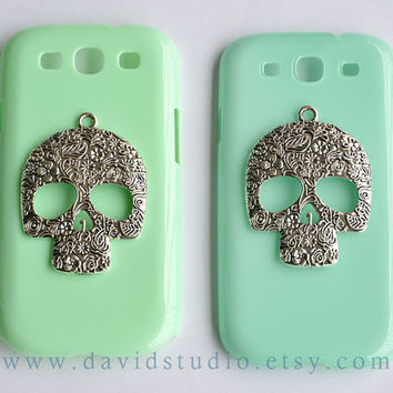 Samsung Galaxy S3 Case Samsung Galaxy SIII Case, Skull Cases,Mint Green Case,Skull phone case,cute Skull case,friendship gift