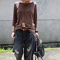 Women's Blouses Tops T-Shirt Casual Loose Fitting Brown