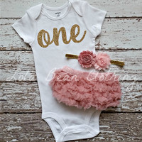 Baby Girl Baby Girl 1st Birthday Outfit Cake Smash Photography Props Gold One Onesuit Dusty Rose Bloomers Light Pink Gold Headband