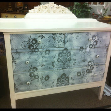 Beautiful Vintage Cottage Chic Dresser  - white lace design front with distressed finish