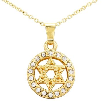 """18k Yellow Gold Plated Clear Crystal Jewish Star of David Pendant Necklace 16"""""""