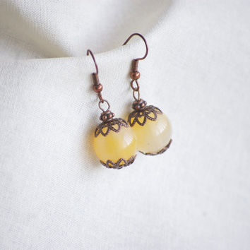 Vintage Style Earrings with Yellow Bead with Copper Decorative Beads. Hippie Festival. Boho Fashion