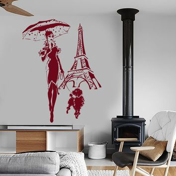 Wall Vinyl Decal Eiffel Tower Paris France Girl With Dog Romantic Decor Unique Gift z3964