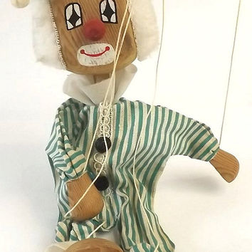 Vintage Wood Clown Marionette Puppet, Collectible Toy, Carnival or Circus Nursery Decor