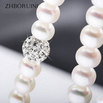 ZHBORUINI 2017 Pearl Necklace 925 Sterling Silver Jewelry For Women 8-9mm Crystal Ball Natural Freshwater Pearls Pearl Jewelry