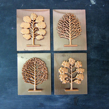 Vintage Copper Tree Cut Outs retro Wall Hangings Ranch Decor Nature Art Metal Mid Century Coppercraft Pictures Hipster Home Decor Dell's