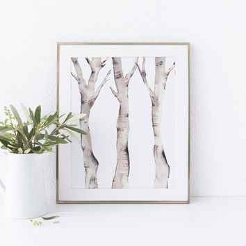 Nordic Birch Tree Forest Painting Wall Art Print