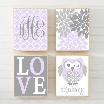 OWL Nursery Wall Art, Lilac Gray Owls Canvas or Prints  Whimsical Owls, Baby Girl Owl Decor, Girl Monogram Wall Decor, Set of 4 Decor