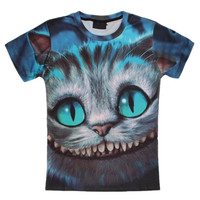 Harajuku 3D Printed T-shirts Cheshire Cat T Shirt Cartoon Alice In Wonderland Tees Anime Short Sleeve Camiseta Summer Tops