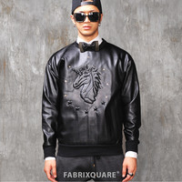 Saint L. Unicorn Embossed Leather Jersey Shirt