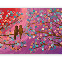 Love Birds in a Tree Painting - Purple, Orange, Red, Turquoise, Gold