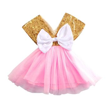 Baby Girls Cute Princess Sequins Party Birthday Pageant Kids Dresses Baby Girls Clothes Toddler Baby Tutu Dress Bow