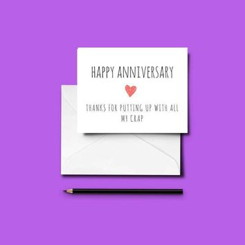 Funny Handmade ANNIVERSARY card - Download and Print-at-Home!