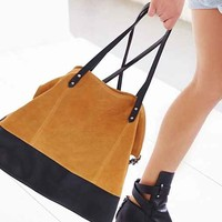 BDG Myles Suede Colorblock Tote Bag-