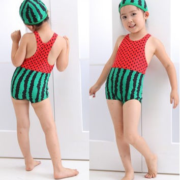 YY-126,,baby swimsuit girl watermelon design beachwear 2 colors summer child garment