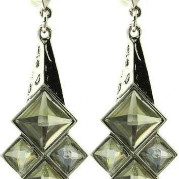 Clear Faceted Lucite Stone Hammered Metal Dangle Earring