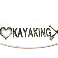 Love Kayaking - 2 Hole Connector Genuine American Pewter Charm